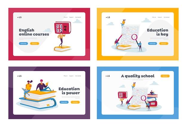 Insieme di modelli di pagina di destinazione dell'esame di grammatica inglese