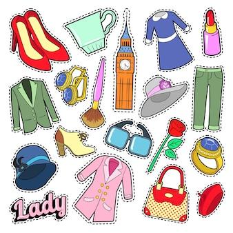 Distintivi, toppe, adesivi di moda donna inglese con vestiti e gioielli. doodle di vettore