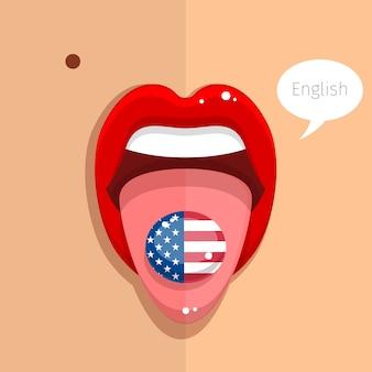 Concetto di lingua inglese. lingua di lingua inglese bocca aperta con bandiera degli stati uniti, volto di donna. design piatto Vettore Premium