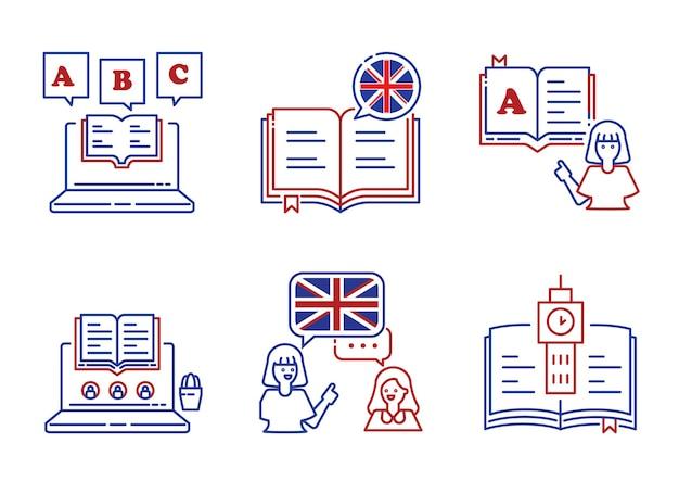 Disegno dell'icona della linea di apprendimento della lingua inglese con libro, alfabeto, apprendimento e insegnamento con l'insegnante