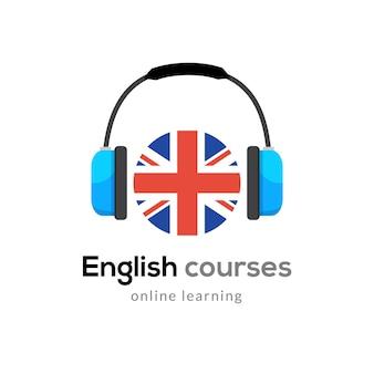 Icona del logo per l'apprendimento della lingua inglese con le cuffie inglese creativo