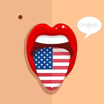 Lingua di lingua inglese bocca aperta con la bandiera della faccia di donna usa design piatto illustrazione