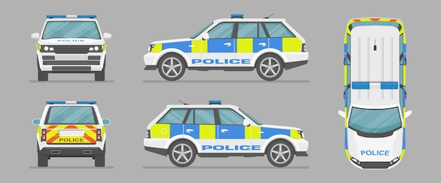 Auto della polizia inglese. vista laterale, vista frontale, vista posteriore, vista dall'alto. auto dei cartoni animati in stile piatto.