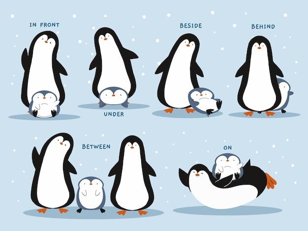 Preposizioni inglesi con pinguini