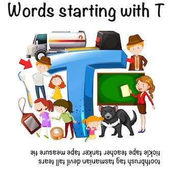 Foglio di lavoro inglese per parole che iniziano con t