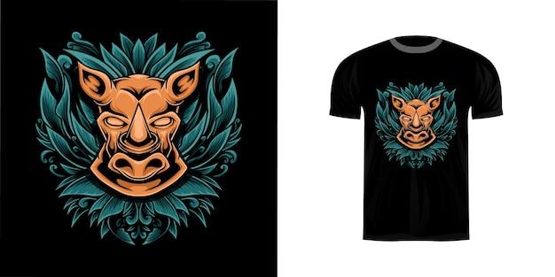 Illustrazione della testa di rinoceronte incisa per il design della maglietta