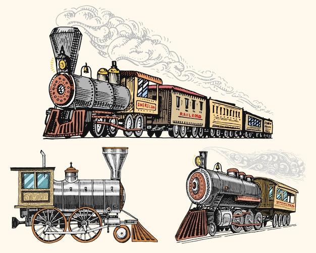 Locomotiva o treno incisa dell'annata, disegnata a mano, vecchia con vapore sulla ferrovia americana. trasporto retrò.