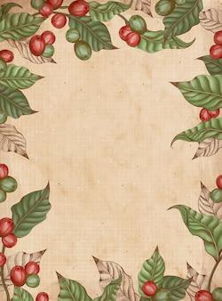 Incisione cornice di piante di caffè, sfondo decorativo vintage con foglie e ciliegie di caffè