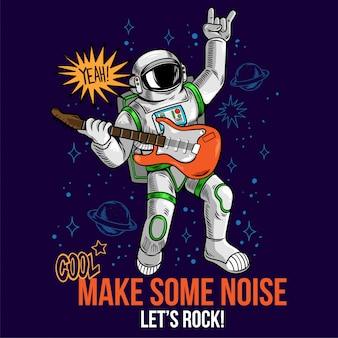Incisione di tizio cool in tuta spaziale rock star astronauta suona musica rock alla chitarra elettrica tra le stelle pianeti galassie.
