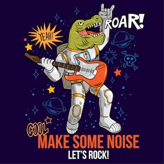 Incisione di tizio cool in tuta spaziale rock star dino t-rex suona musica rock alla chitarra elettrica tra galassie di pianeti stellari. pop art di fumetti del fumetto per l'abbigliamento della maglietta di design di stampa per bambini.