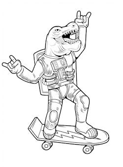 L'incisione disegna il simpatico tizio astronauta t rex tirannosauro cavalca su skateboard in tuta spaziale. stile d'annata di pop art dei fumetti dell'illustrazione del personaggio dei cartoni animati isolato