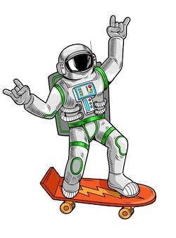Disegno dell'incisione con divertente divertente astronauta astronauta cavalca su skateboard in tuta spaziale.