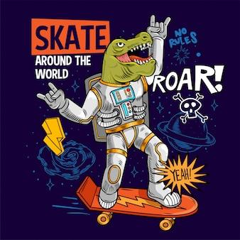 Incisione divertente tizio cool in tuta spaziale skater dino green t rex ride su spazio skate board tra stelle pianeti galassie. pop art di fumetti del fumetto per l'abbigliamento della maglietta design di stampa