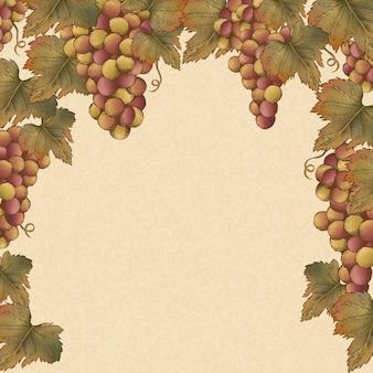 Incisione di uva e foglie, cornice di uva vintage per usi