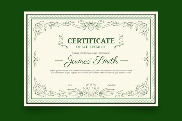 Certificato disegnato a mano di incisione