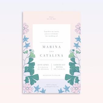 Modello di invito a nozze floreale disegnato a mano con incisione