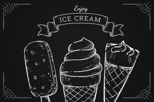 Fondo disegnato a mano della lavagna del gelato dell'incisione