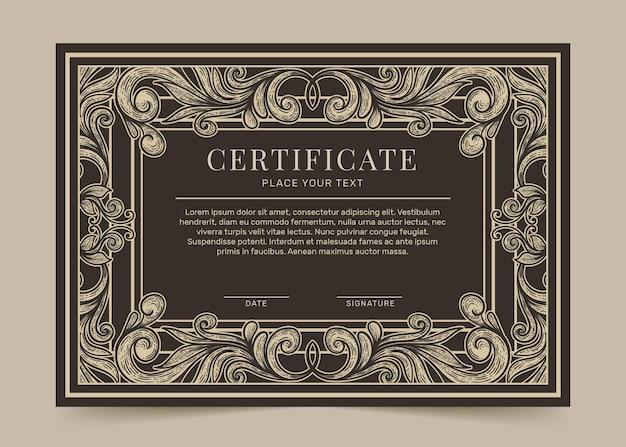 Modello di certificato ornamentale disegnato a mano di incisione