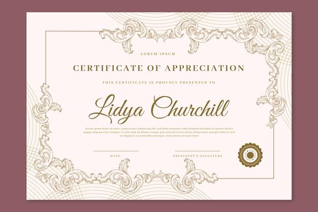Certificato ornamentale disegnato a mano di incisione