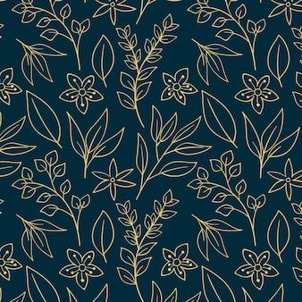 Modello di fiori pressati disegnati a mano di incisione Vettore Premium
