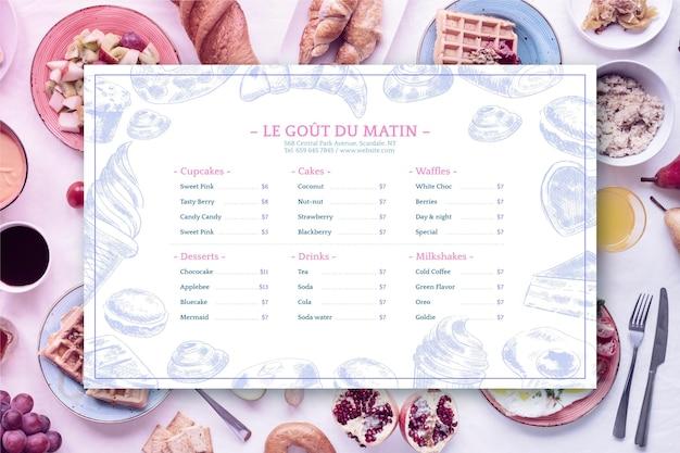 Modello di menu ristorante rustico disegnato a mano incisione con foto