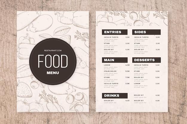 Modello di menu ristorante verticale rustico disegnato a mano di incisione