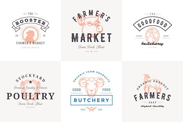 Logos dell'incisione ed etichette degli animali da allevamento con l'illustrazione stabilita di vettore di stile disegnato a mano di tipografia d'annata moderna.