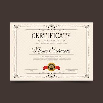 Certificato di incisione ornamentale Vettore Premium