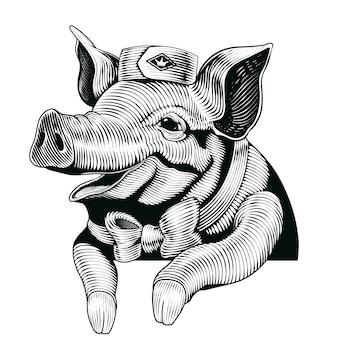 Maiale in stile incisione, elementi di maiale sorridente per negozio di specialità gastronomiche