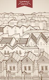Incisione vintage tetti della città disegnati a mano all'orizzonte. architettura di schizzo a matita