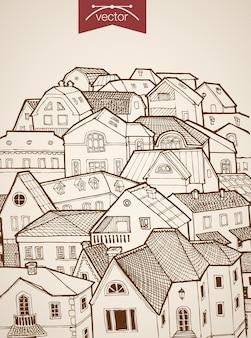 Incisione di tetti della città disegnati a mano d'epoca all'orizzonte dell'orizzonte. architettura di schizzo a matita
