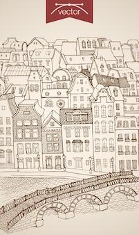 Incisione vintage disegnati a mano città strada ponte sul fiume. architettura di schizzo a matita