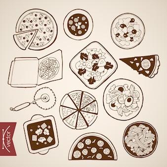 Raccolta di cibo pizzeria italiana disegnata a mano vintage incisione. pencil sketch pizza, box snack