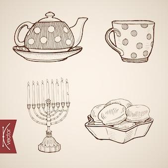 Incisione vintage disegnata a mano ebraica raccolta di tè e biscotti serali. deserto di schizzo a matita e tazza di bevanda, menorah