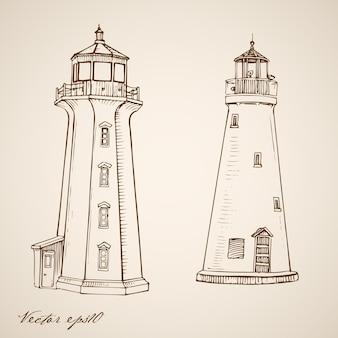 Fari disegnati a mano vintage incisione