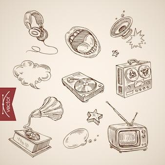 Collezione di attrezzature retrò musicale disegnata a mano vintage incisione.