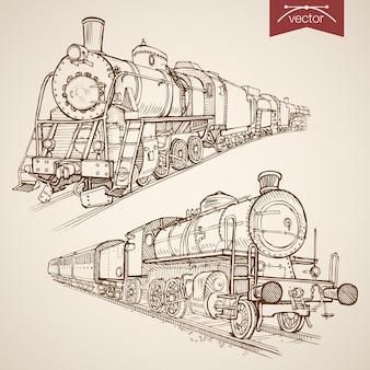 Collezione di treni retrò disegnata a mano vintage incisione. trasporto ferroviario di schizzo a matita