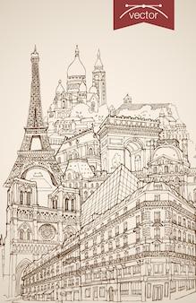 Incisione di monumenti e luoghi d'interesse disegnati a mano d'epoca a parigi. schizzo a matita torre eiffel, notre dame de paris, arc de triomphe viaggi turistici in francia concetto.