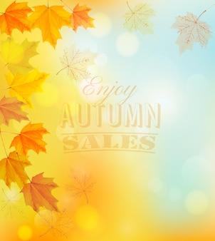 Goditi lo striscione delle vendite autunnali con foglie colorate. vettore.