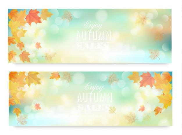 Goditi i banner di vendita autunnali con foglie colorate. vettore.