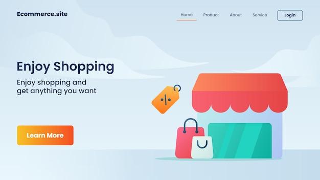 Goditi la campagna di shopping per il volantino del modello di banner della pagina di destinazione della home page del sito web