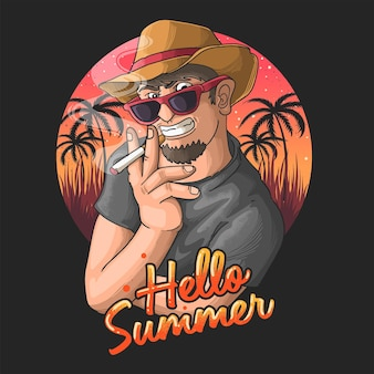 Goditi l'illustrazione delle vacanze estive