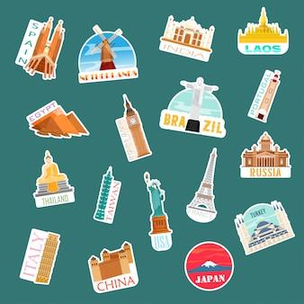 Goditi il viaggio intorno al mondo. adesivi icone di viaggio