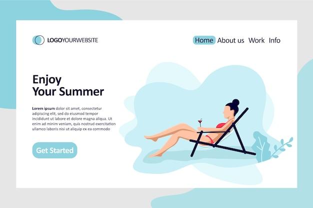 Goditi la tua illustrazione piatta della pagina di destinazione estiva