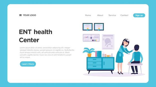 Illustrazione medica del controllo medico di otorinolaringoiatria ent per la pagina web