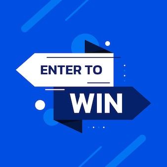 Entra per vincere il modello vettoriale blu per il design del banner promozionale