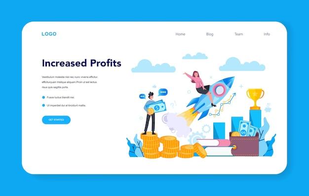 Banner web o pagina di destinazione dell'imprenditore.