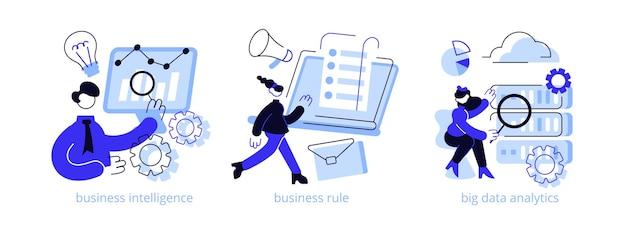 Insieme dell'illustrazione di concetto astratto di sviluppo di strategia aziendale.