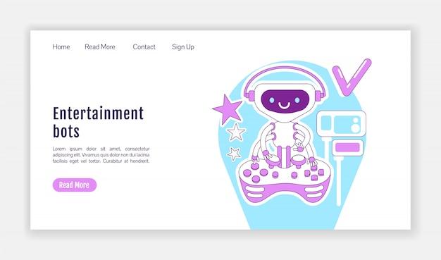 Modello di sagoma della pagina di destinazione dei robot di intrattenimento. layout della home page del software ai per videogiochi. interfaccia del sito web di una pagina con personaggio dei cartoni animati. banner web, pagina web