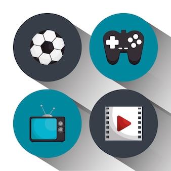 Elementi di intrattenimento icone isolate